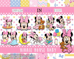 Kit Scrapbook Digital Minnie Mouse Baby - Bebê