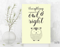 Quadro / Placa - Owl right 067B GRANDE