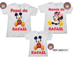Kit 3 Camisetas Aniversario Mickey e Minnie 03