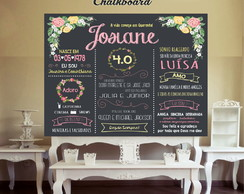 Painel Chalkboard Floral 40 anos - DIGITAL