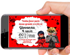 Convite Digital Miraculous As Aventuras de Ladybug
