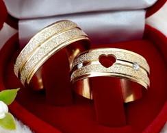 R  5.400,00  Par De Alianças Casamento banhada a ouro 18k coração vazado 83c0f0bc13