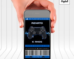 Convite Digital Vídeo Game Sony Playstation PS4 controle