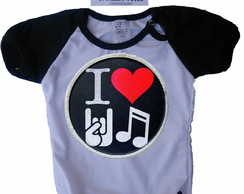 Body Infantil Raglan Personalizado I love rock in roll