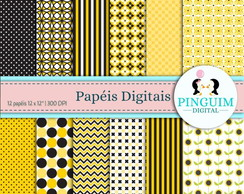 Kit Papel Digital - Amarelo e preto - Girasol