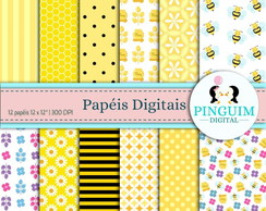 Kit Papel Digital - Amarelo e preto clean - Abelhinha