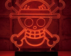 Luminária One Piece Monkey D Luffy Flag Abajur Led Presente