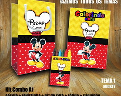 Kit COLORIR: Sacola + Giz + Revista Mickey / Papel 3D