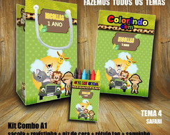 Kit COLORIR: Sacola + Giz + Revista Safari / Papel 3D