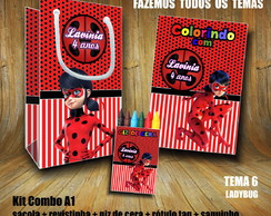 Kit COLORIR: Sacola + Giz + Revista LadyBug / Papel 3D
