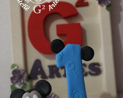 Vela Personalizada em Biscuit mickey baby