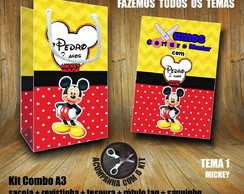 Kit BRINCAR: Sacola + Tesoura + Revista Mickey / Papel 3D