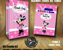 Kit BRINCAR: Sacola + Tesoura + Revista Minnie / Papel 3D