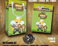 Kit BRINCAR: Sacola + Tesoura + Revista Safari / Papel 3D