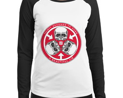 Baby Look Raglan 30 Seconds To Mars Caveira Manga Longa