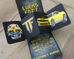 Convite Popup e Twist Festa Transformers LUXO - Exclusivo!!