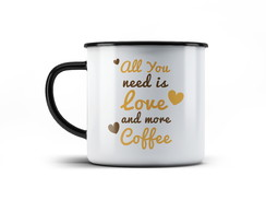Caneca Vintage -All You Need is Love and More Coffee