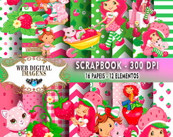 SCRAPBOOK Moranguinho - 16 Papeis - 12 Elementos - CD68