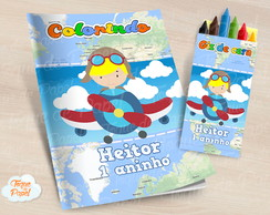 Kit colorir com giz de cera Aviador