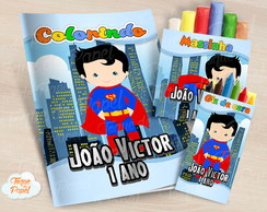 Kit colorir giz massinha Super Man Cute