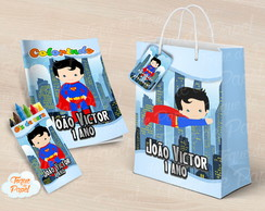 Kit colorir giz sacola Super Man Cute
