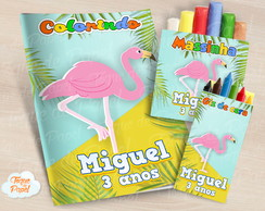 Kit colorir giz massinha Flamingo