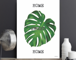 Placa Decorativa Home Sweet Home Monstera Tamanho G