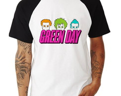 Camisa Raglan Green Day Pop Color Manga Curta