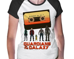 Baby Look Raglan Guardiões da Galaxia Awesome Mix Curta
