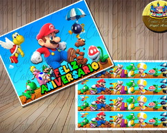 Super Mario Bros Papel de arroz e 4 faixas laterais