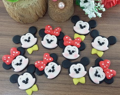 Aplique mickey e minnie em biscuit