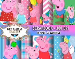 SCRAPBOOK Peppa e George- 14 Papeis - 25 Elementos - CD78