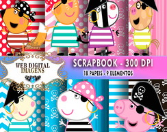 SCRAPBOOK Peppa Pig Piratas- 18 Papeis 9 Elementos - CD79
