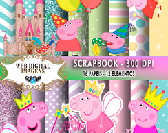 SCRAPBOOK Peppa Pig Princes- 16 Papeis - 12 Elementos - CD80