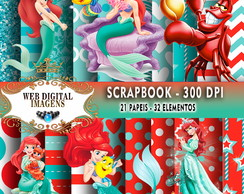 SCRAPBOOK Pricesa Ariel - 21 Papeis 32 Elementos - CD85