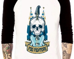 Camisa Raglan Foo Fighters Guitarra Tres Quartos