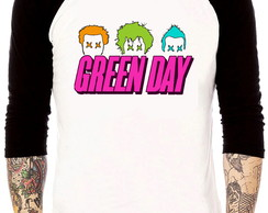 Camisa Raglan Green Day Pop Color Tres Quartos