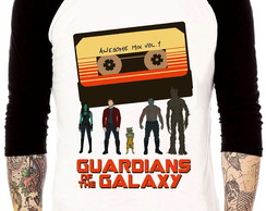 Camisa Raglan Guardiões da Galaxia Awesome Mix Tres Quarto