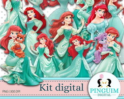 Kit Digital - A Pequena Sereia Ariel Princesa Disney