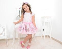 a4af7687c5acf Vestido infantil tema bailarinas e lindas rosas no Elo7