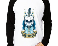 Camisa Raglan Foo Fighters Guitarra Manga Longa