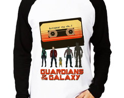 Camisa Raglan Guardiões da Galaxia Awesome Mix Manga Longa