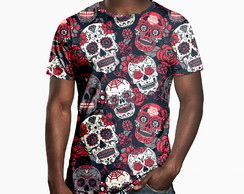 Camiseta Masculina Caveiras Mexicanas Estampa Digital
