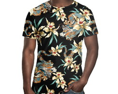 Camiseta Masculina Flor E Dragão Chinês Estampa Digital