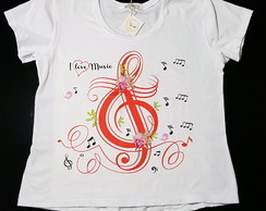 Camiseta T-shirt Feminina - Love Music