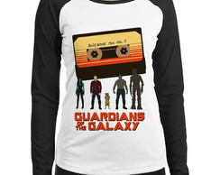 Babylook Raglan Guardiões da Galaxia Awesome Mix Manga Longa