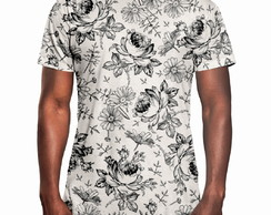 Camiseta Masculina Longline Swag Flores Selvagens
