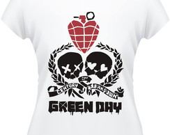 Baby Look Green Day Skull Feminina