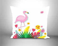 Almofada decorativa Flamingo tropical branca