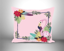 Almofada decorativa Flamingo tropical rosa